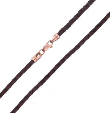 Плетеная кожа Черно-Коричневая 3.0 мм с золотой застежкой z6531-K
