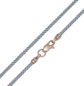 Плетеный шелк Серебряный 2.0 мм с золотой застежкой z6805