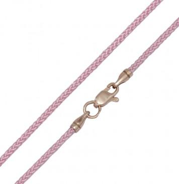 Плетеный шелк Розовый 2.0 мм с золотой застежкой z6806