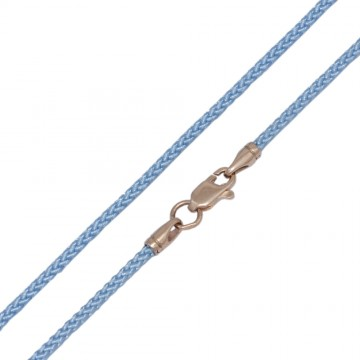 Плетеный шелк Голубой 2.0 мм с золотой застежкой z6810